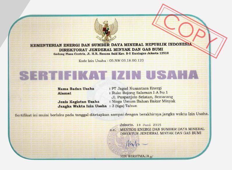 Sertifikat izin Jagad Nusantara energi